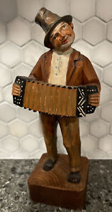 VTG Carved German Swiss Wooden Man Playing Accordion Music Statue Art Sculpture
