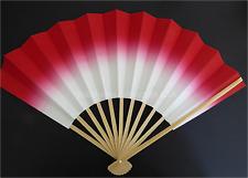 "Japanese Geisha ""Odori"" Dance Hand Held Red SENSU Fan/Without Weight/Made Japan"