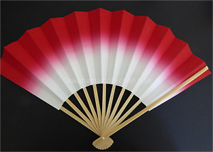 Japanese Geisha SENSU Fan Hand Held Folding Fan Red/Without Weight/Made in Japan