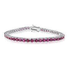 18cttw Created Ruby Tennis Bracelet Rhodium Plated