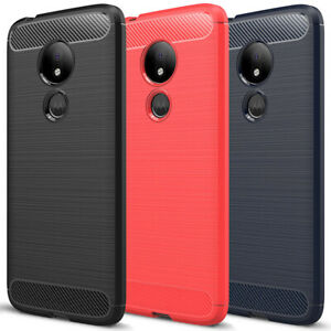 For Motorola Moto G7 Play Case Carbon Fiber Brushed Texture TPU Cover