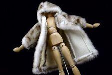 Barbie doll Brown Faux Fur Winter COAT 3/4 Length Hood Hoodie NICE!