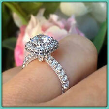Cut Diamond Solitaire Engagement Wedding Ring 14k White Gold Over 1.50 Ct Round