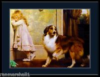 English Picture Print Collie Puppy Dog & Little Girl Vintage Poster Art