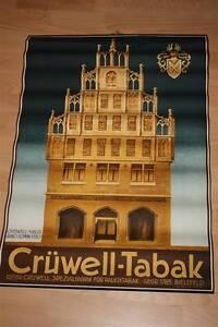 Plakat D 30er Jahre Crüwell Tabak 1 A Zustand Zigaretten Schild Sign Emaille