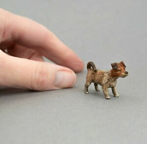 TINY Vintage COLD PAINTED BRONZE Miniature JACK RUSSELL TERRIER Dog