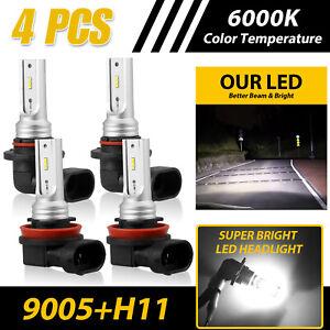 4X 9005+H11 Combo LED Headlight Kit Bulbs High Low Beam For Chevy Silverado 1500