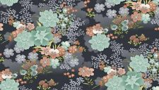 Japanese Asami Flowers on Grey Cotton Fabric Makower 55 X 50 Cm Larger Available