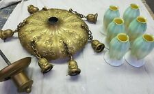Vintage Quezal Glass Pulled Feather Lamp Shades (6) with Chandelier