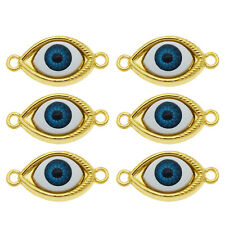 10pcs/pack Gold Tone 3D Evil Eyes Blue Eye Charms Pendant Jewelry Accessories