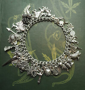 Witches Charm Bracelet - Wand - Athame - Chalice - Cauldron - MORE! Wicca, Pagan