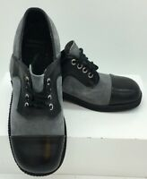 Vintage Women's Black Gray Suede Saddle Oxford Shoes Made in Poland