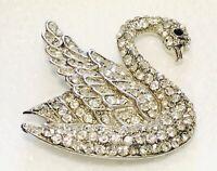 Mid Century Swan Brooch Clear White Pave Rhinestones Pot Metal Black Crystal Eye