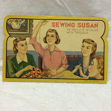 Vintage Sewing Susan Needles with Threader Made in Japan Graphics