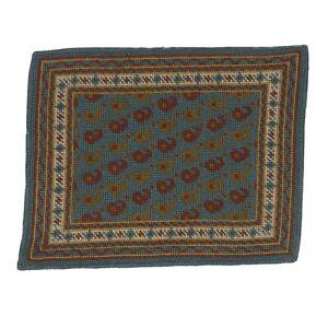 Vintage Needlepoint Petit Point Dollhouse Persian Carpet/Area Rug 1:12 Miniature