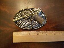 Vint Solid Brass Hand Gun belt buckle Great American Buckle Co 1976 Ltd Ed #413