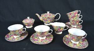 15Pcs Fine Bone China Tea Set,Pink/Yellow Floral Pattern