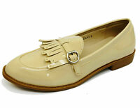 LADIES BEIGE SLIP-ON LOAFERS MOCCASIN CASUAL SMART WORK COMFY FLAT SHOES UK 3-8