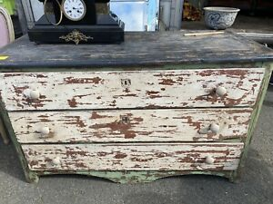 18th Centurn French Antique Painted Chest Of Drawers