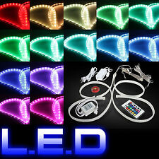 Two LED Strip Foot Light Car Floor Home Decor Wireless Remote seven color RGB