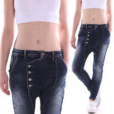 pantalon jeans pour femmes Boyfriend de taille basse Baggy avec boutons sarouel