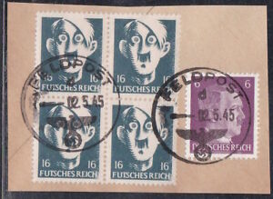 1944 WWII Futsches Reich Ditzy Hitler 16pf Used Cut Reproduction Stamp sv