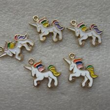 5 - 30 Unicorn Charms Enamel Colourful White Gifts Jewellery Making Pendant 20mm