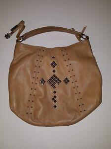 Lucky Brand 100% Leather Tan HoBo Large Slouchy Tote Handbag