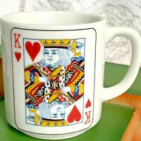 "Vintage King of Hearts Coffee Mug Coffee Cup 3.5"" Bridge Playing Card Japan"