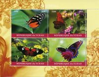 Chad 2018 CTO Butterflies 4v M/S Papillons Butterfly Insects Stamps