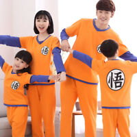 Dragon Ball Family Clothes Cute Home Sleepwear Twinset Pajamas Cotton Kids Adult