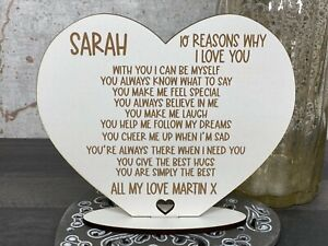 Personalised 10 Reasons Why I Love You, Valenties, Birthday Gift For Her