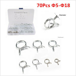 70Pcs 5-18mm Double Wire Fuel Line Hose Tube Spring Clamp Assortment For Car SUV