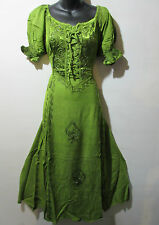 Dress Fits 1X 2X  Plus Renaissance Green Corset Lace Up Chest Embroider NWT G100