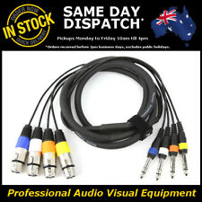 "2-Metre 4-Way XLR Female to 1/4"" Multicore Microphone Mic PA Cable Lead Cord 2M"