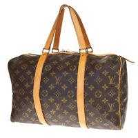 Auth LOUIS VUITTON Sac Souple 35 Hand Bag Monogram Leather Brown M41626 77MC977