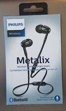 Philips Wireless Bluetooth Metalix In Ear Earbuds w/ Mic Black SHB5850 SEALED