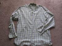 Ermenegildo Zegna Shirt Italy softest cotton green brown blue windowpane plaid L