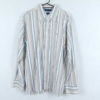 TOMMY HILFIGER Mens Vintage Striped Oxford Long Sleeve Collared Shirt SIZE XL
