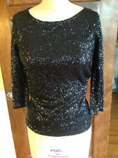 J Crew S NWT Dark Navy Sequin Knit Blouse