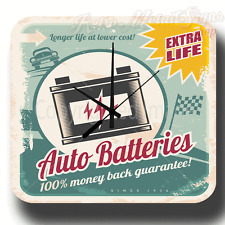 EXTRA LIFE AUTO BATTERIES VINTAGE GARAGE METAL TIN SIGN WALL CLOCK