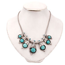 Fashion Women's Turquoise Chain Seven Turquoises Pendants Fashion Necklace Blue