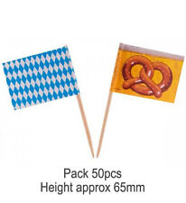 50 PCS OKTOBERFEST SANDWICH PICK FOOD FLAGS German Beer Fest Party 61564