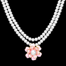 Elegant 18k 18CT Yellow Gold GF Pearl Chain Pink Flora Pendant Necklace N-A730