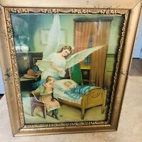 Antique Victorian Print under glass gold Frame Baby in bedroom w angel & child
