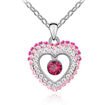 NEW Womens Heart  Hot Pink Crystal Rhinestone Silver Chain Pendant Necklace  ---