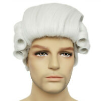 Mens Judge Lawyer Wig Cosplay Fancy Dress Historical Costume Party Opera Drama