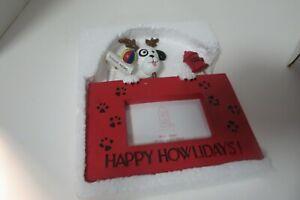 "Happy Howlidays 3 1/4"" x 2 1/4"" Red Ceramic Dog Picture Frame Dog Head Hydrant"