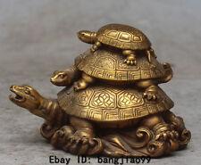 "5"" Chinese Bronze Auspicious Feng Shui Wealth Animal 3 Turtle tortoise Statue"