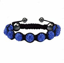 Dark Blue Indigo Crystal Beaded  Cord Shamballa Stacking Bracelet Stacks